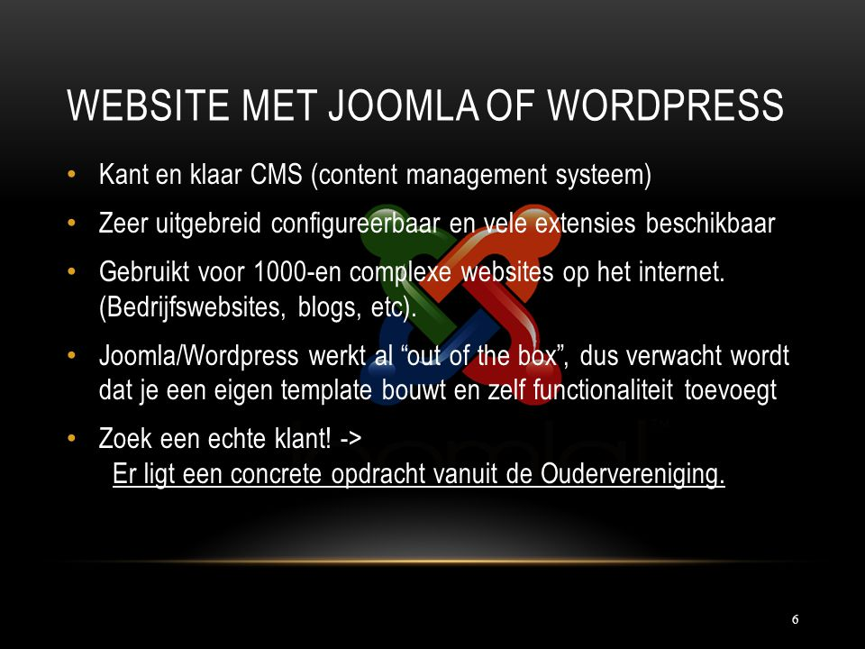 Website met Joomla of Wordpress