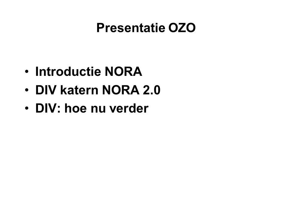 Presentatie OZO Introductie NORA DIV katern NORA 2.0 DIV: hoe nu verder