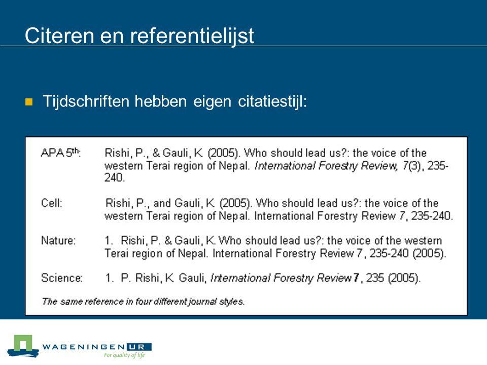 Citeren en referentielijst
