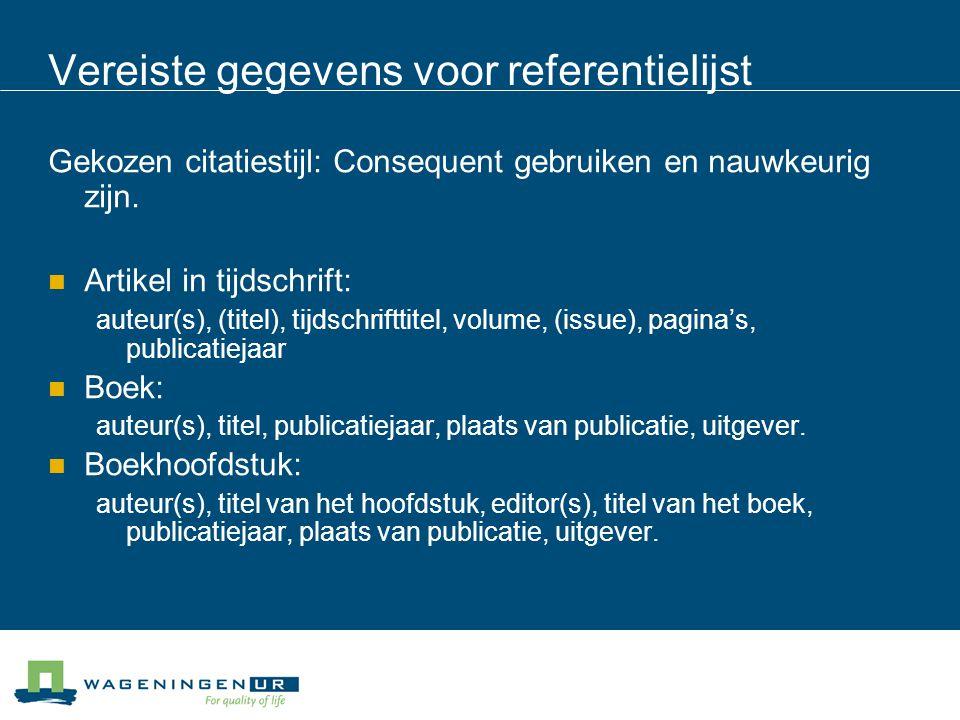 Vereiste gegevens voor referentielijst