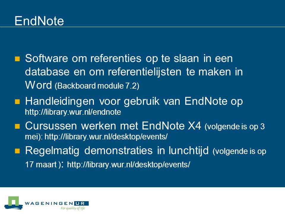 EndNote Software om referenties op te slaan in een database en om referentielijsten te maken in Word (Backboard module 7.2)