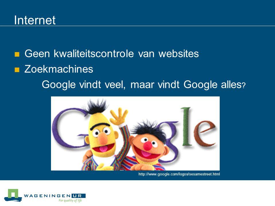 Internet Geen kwaliteitscontrole van websites Zoekmachines