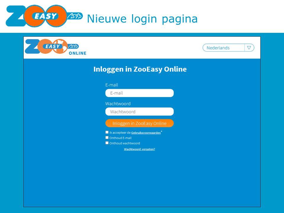 Nieuwe login pagina