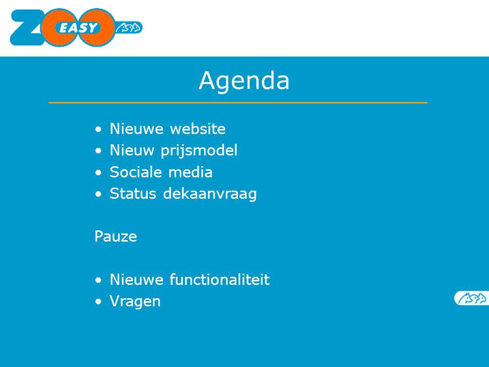 Agenda Nieuwe website Nieuw prijsmodel Sociale media