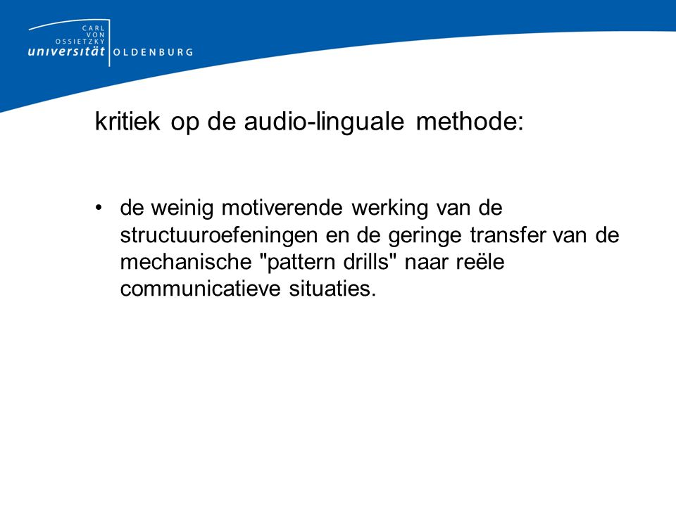 kritiek op de audio-linguale methode: