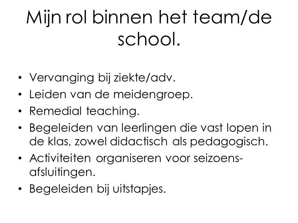Mijn rol binnen het team/de school.