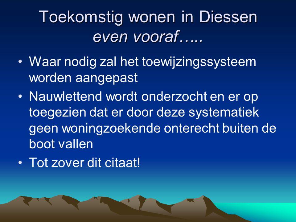 Toekomstig wonen in Diessen even vooraf…..