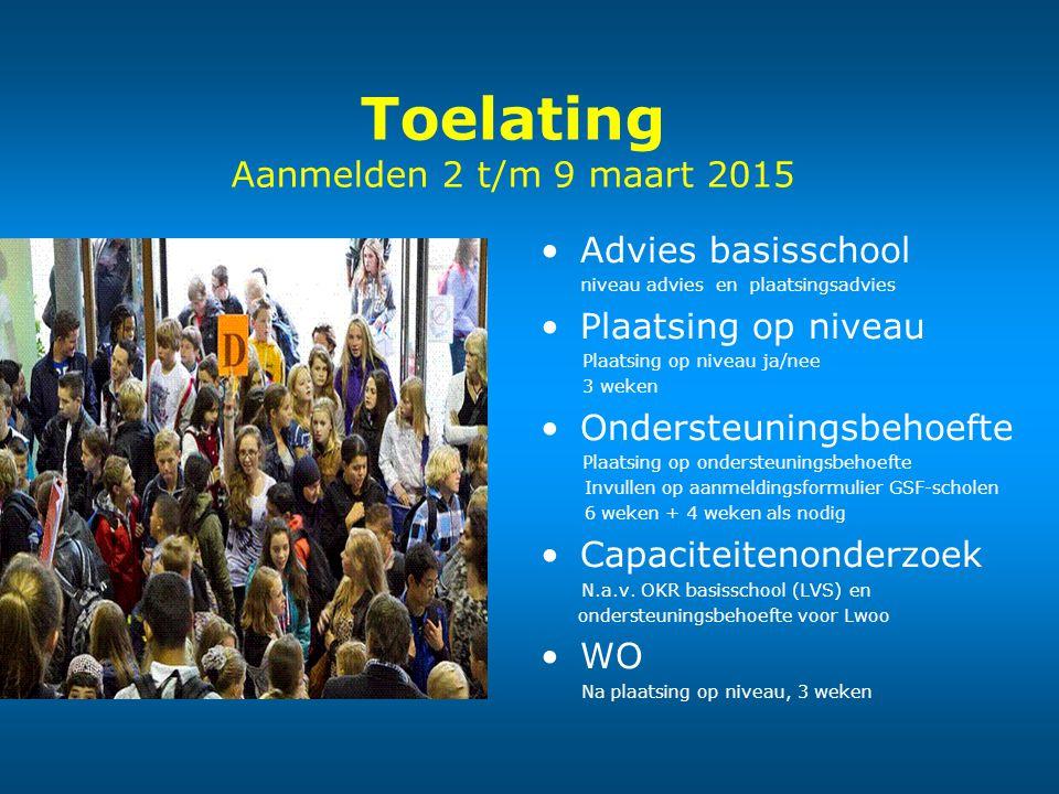 Toelating Aanmelden 2 t/m 9 maart 2015