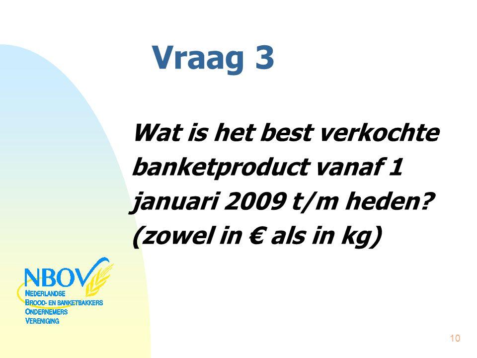 Vraag 3 Wat is het best verkochte banketproduct vanaf 1