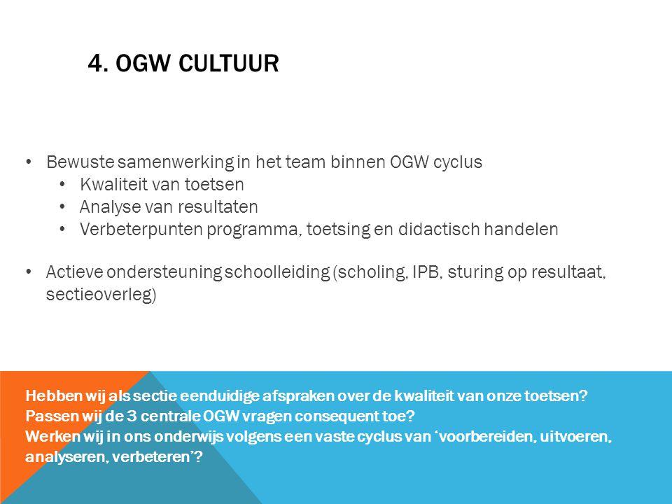 4. OGW cultuur Bewuste samenwerking in het team binnen OGW cyclus