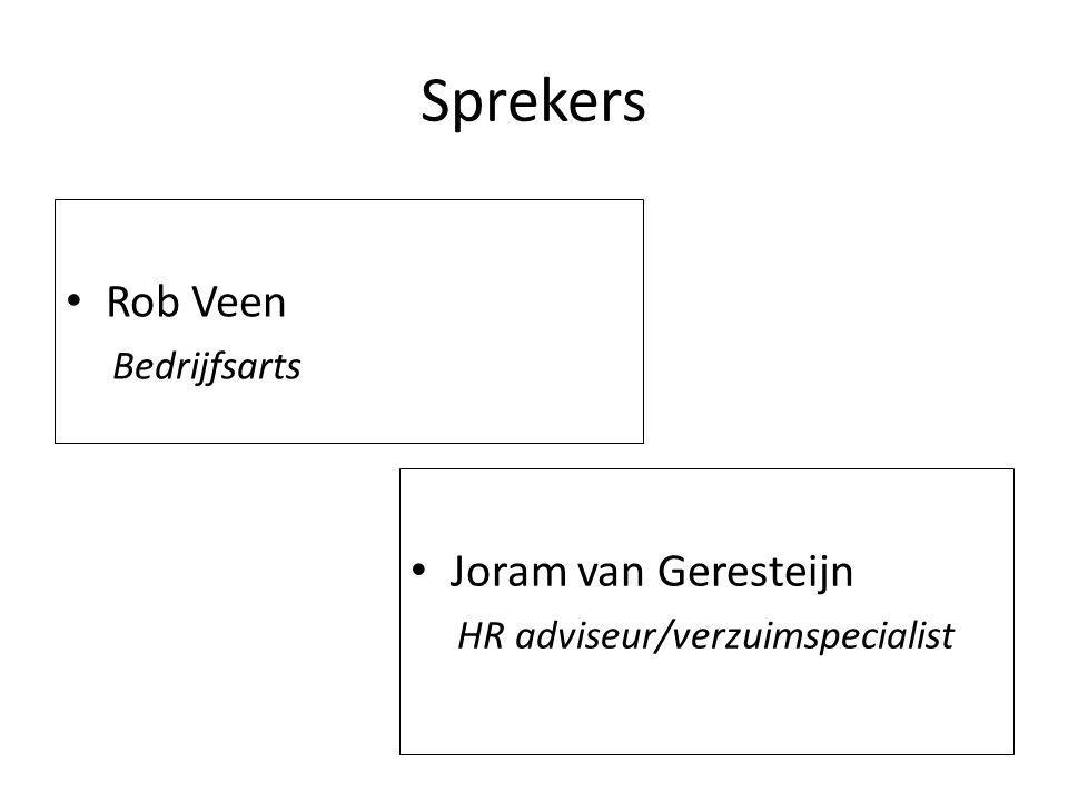 Sprekers Rob Veen Joram van Geresteijn Bedrijfsarts
