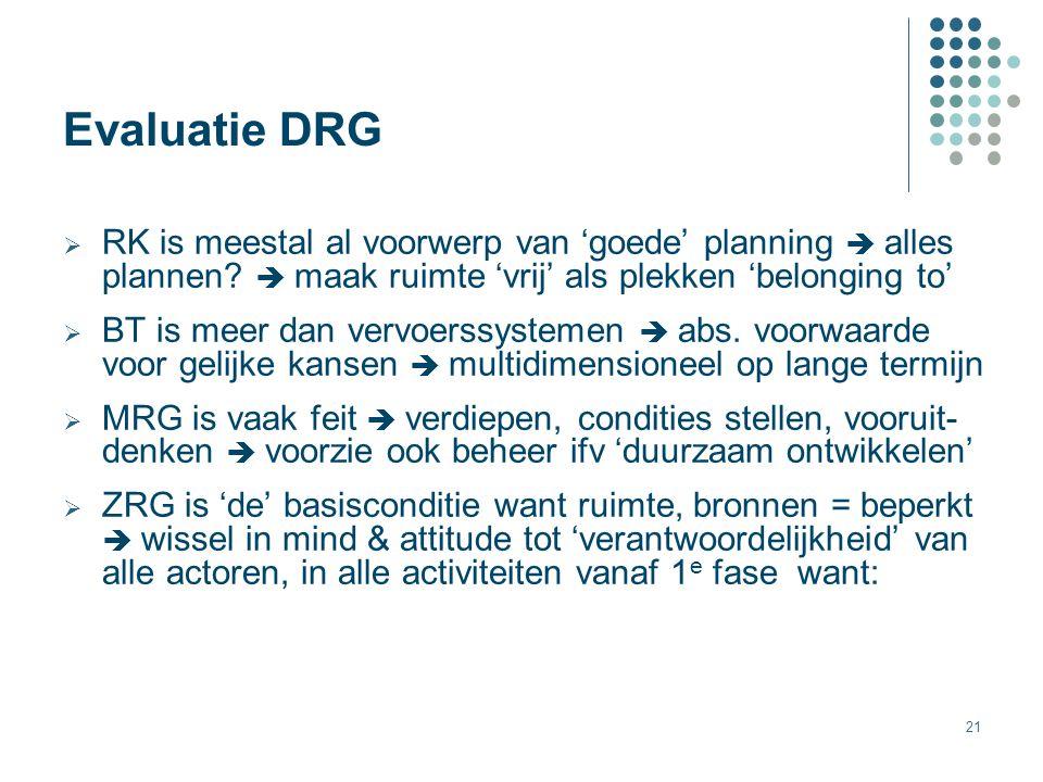 Evaluatie DRG RK is meestal al voorwerp van 'goede' planning  alles plannen  maak ruimte 'vrij' als plekken 'belonging to'