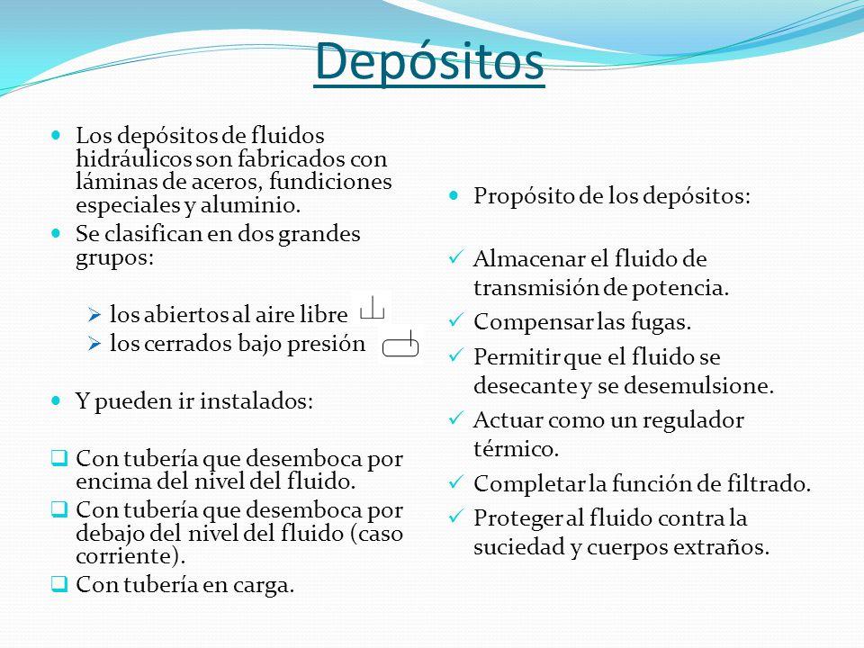 Depósitos Los depósitos de fluidos hidráulicos son fabricados con láminas de aceros, fundiciones especiales y aluminio.