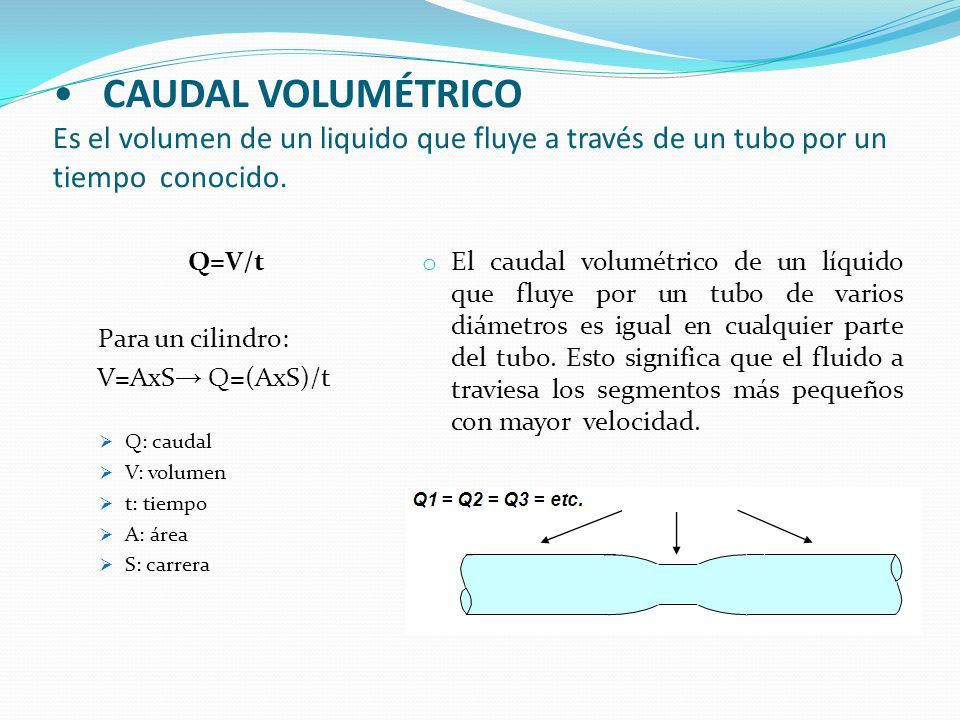 CAUDAL VOLUMÉTRICO Es el volumen de un liquido que fluye a través de un tubo por un tiempo conocido.