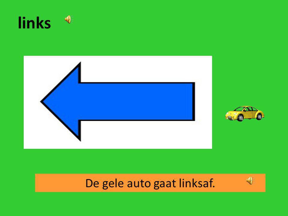 De gele auto gaat linksaf.