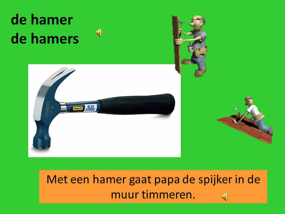 Met een hamer gaat papa de spijker in de muur timmeren.
