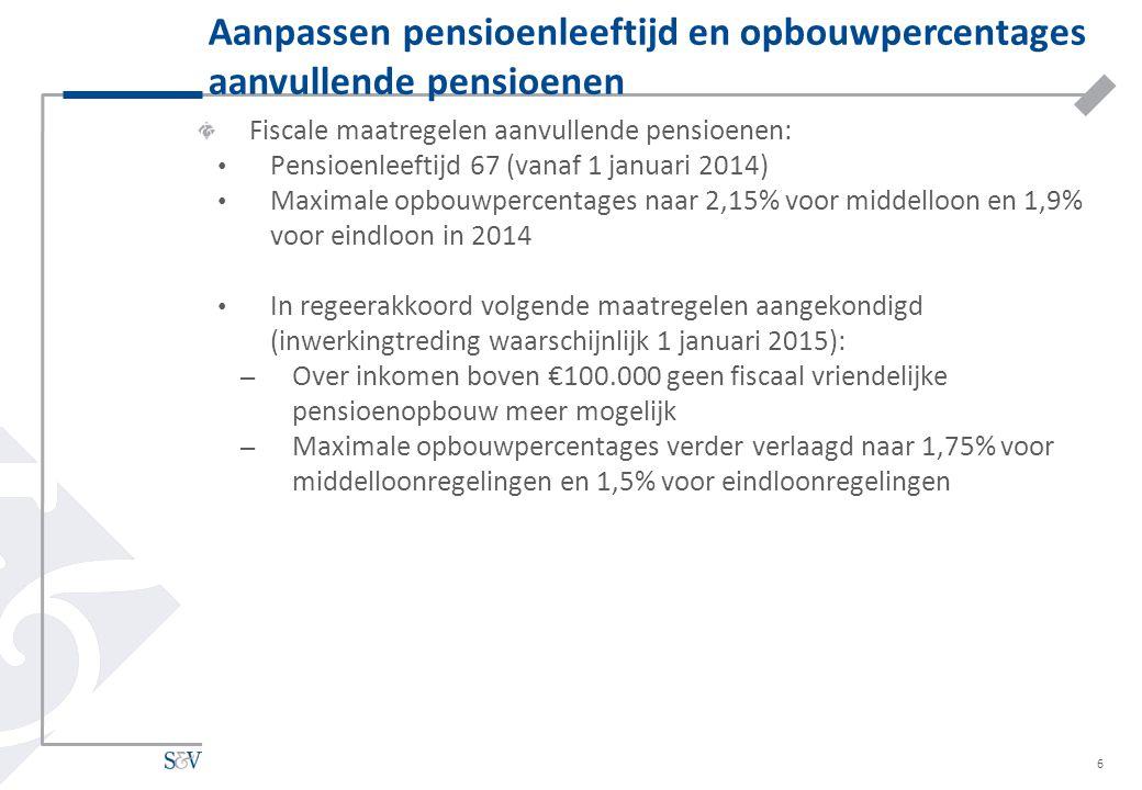 Aanpassen pensioenleeftijd en opbouwpercentages aanvullende pensioenen