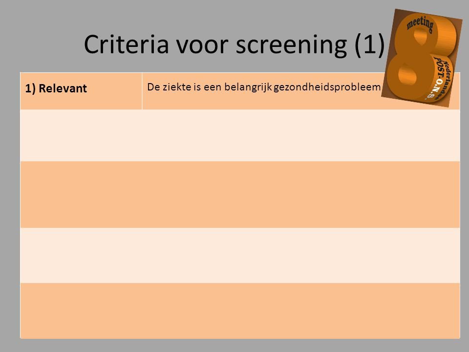 Criteria voor screening (1)