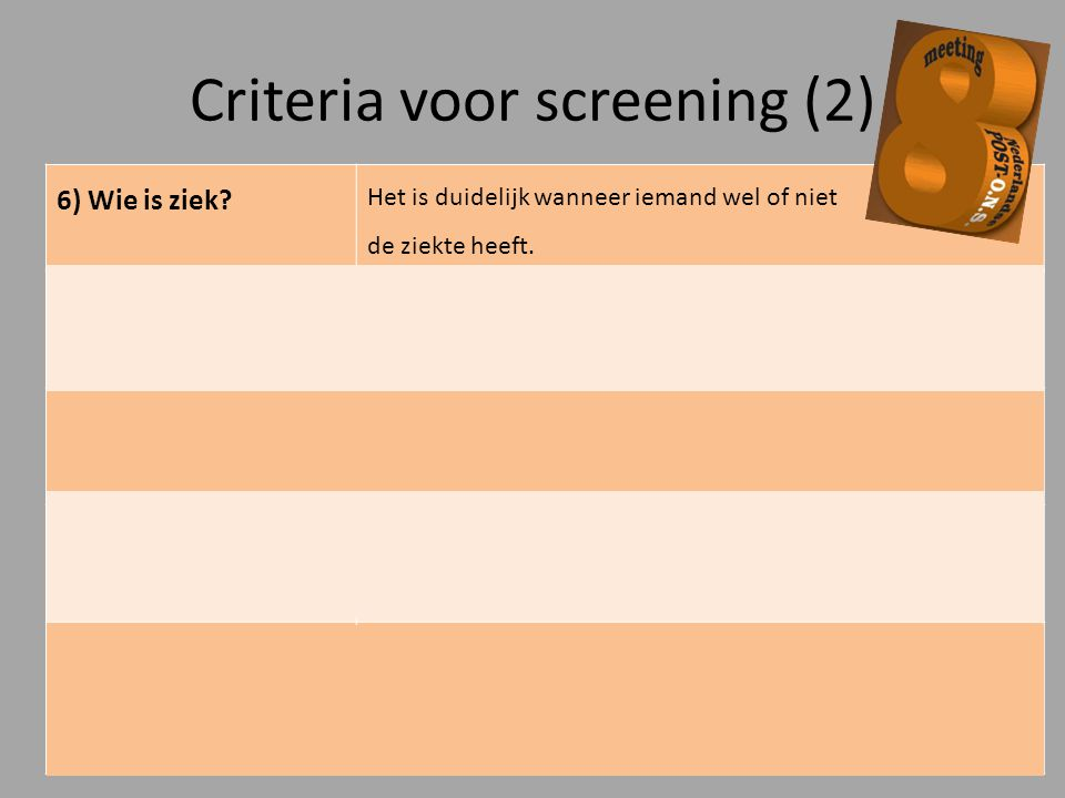 Criteria voor screening (2)