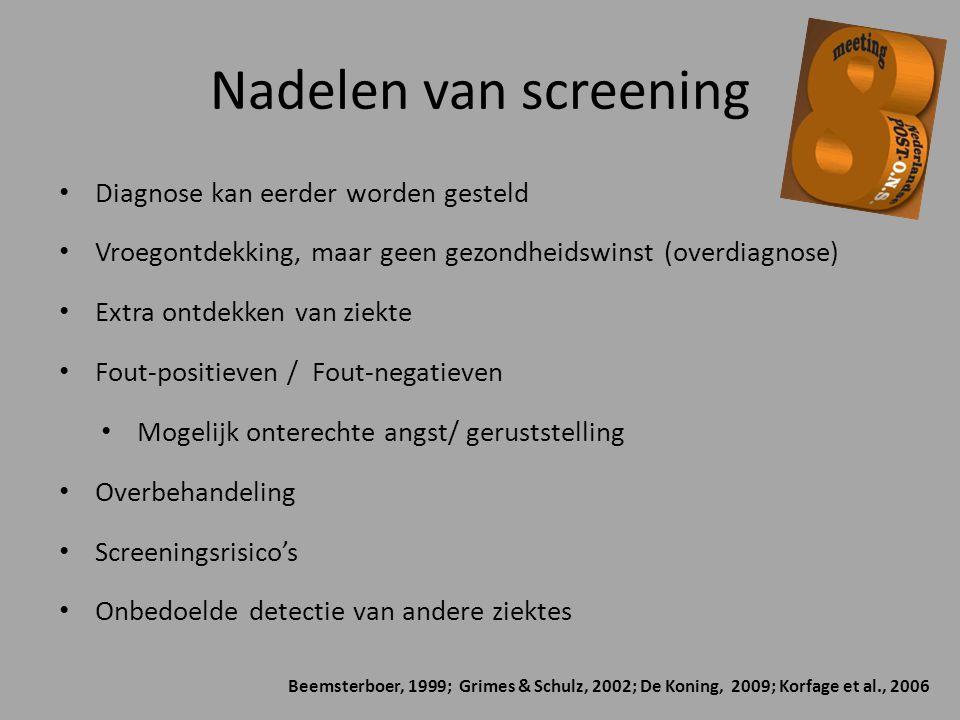 Nadelen van screening Diagnose kan eerder worden gesteld