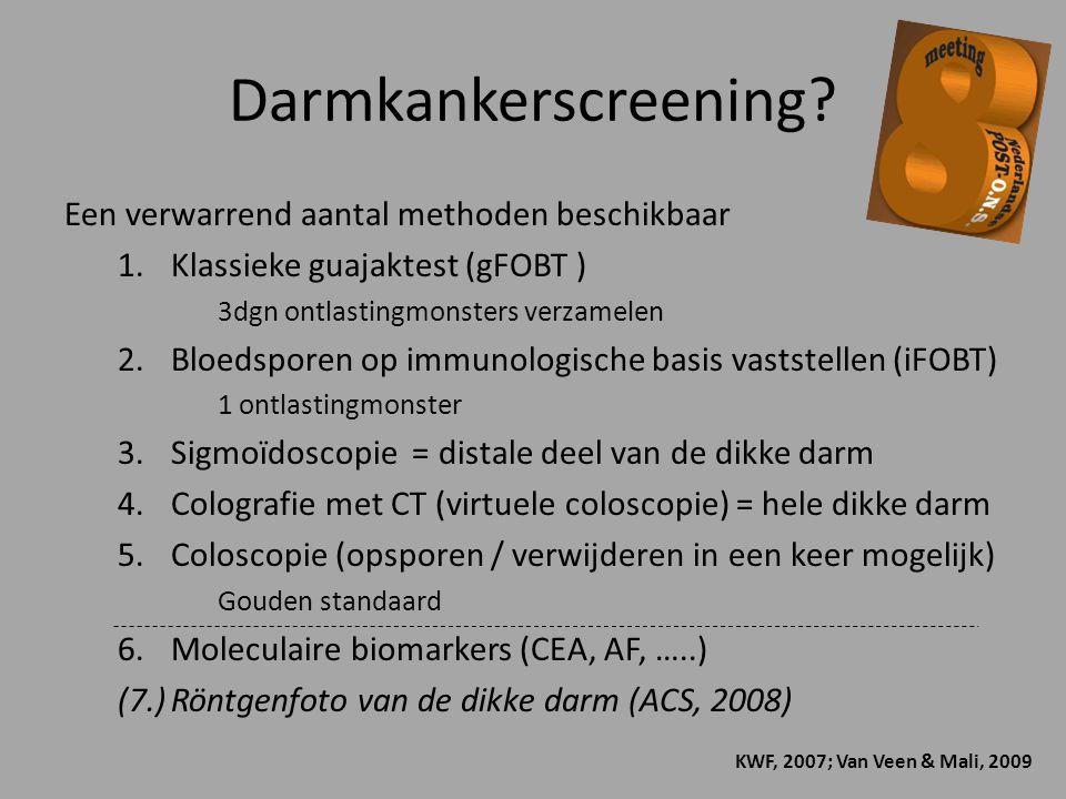 Darmkankerscreening Een verwarrend aantal methoden beschikbaar