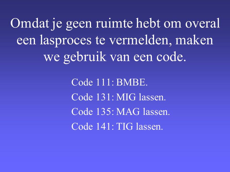 Omdat je geen ruimte hebt om overal een lasproces te vermelden, maken we gebruik van een code.