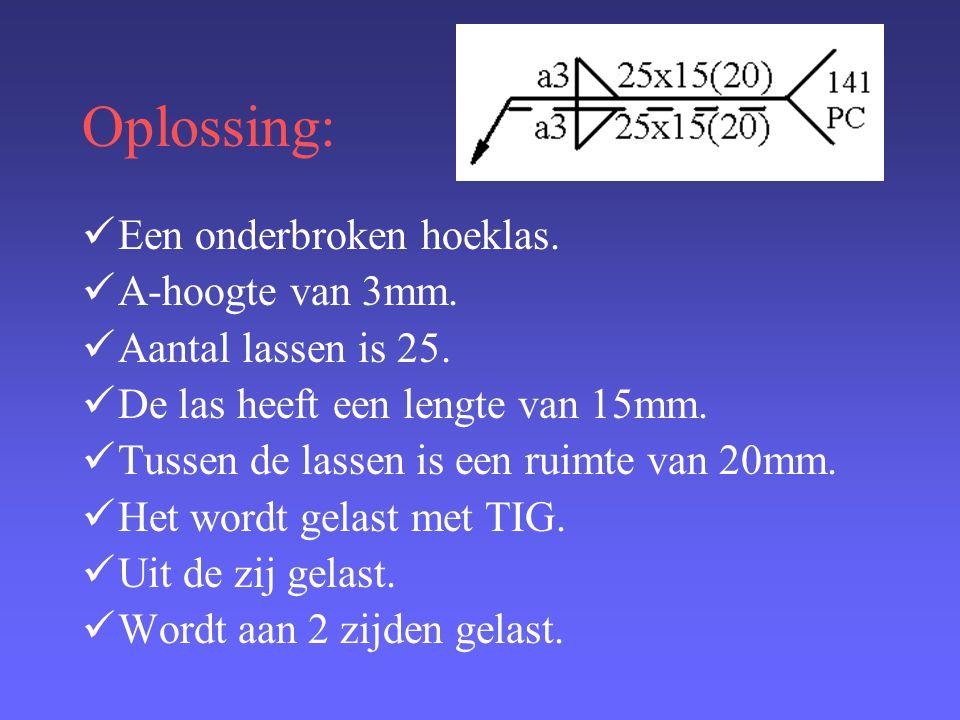 Oplossing: Een onderbroken hoeklas. A-hoogte van 3mm.