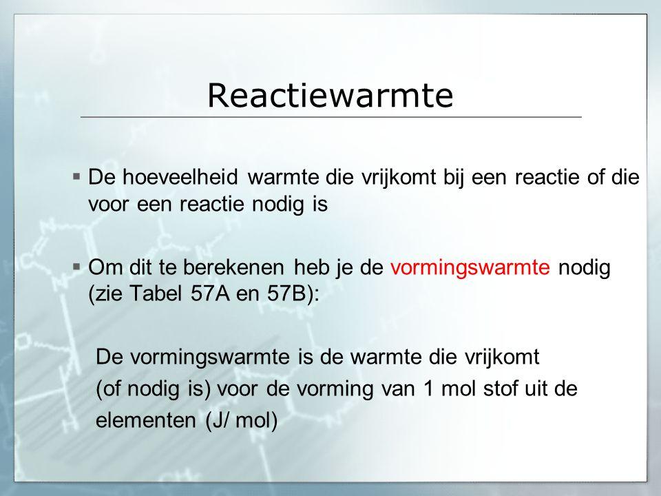 Reactiewarmte De hoeveelheid warmte die vrijkomt bij een reactie of die voor een reactie nodig is.