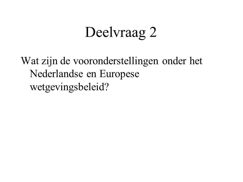 Deelvraag 2 Wat zijn de vooronderstellingen onder het Nederlandse en Europese wetgevingsbeleid