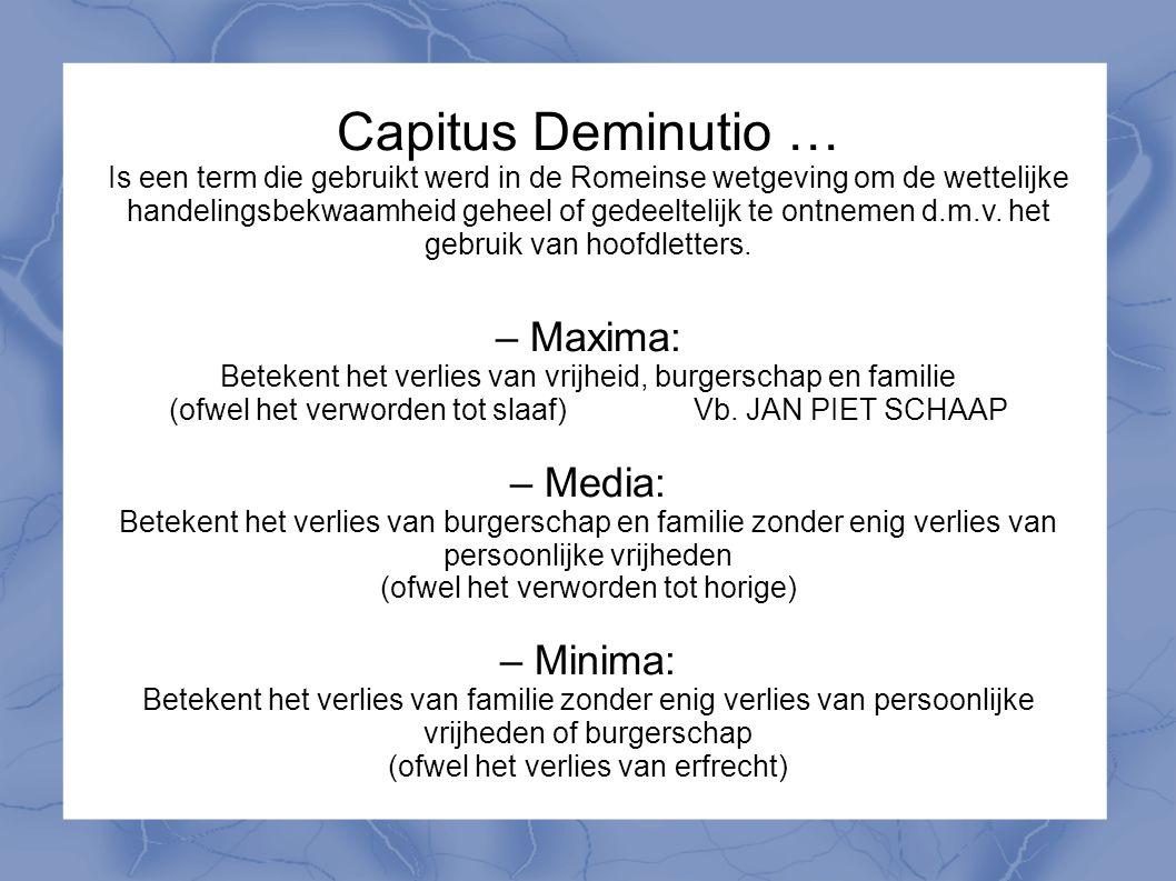 Capitus Deminutio … – Maxima: – Media: – Minima: