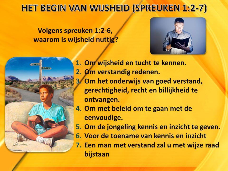 HET BEGIN VAN WIJSHEID (SPREUKEN 1:2-7) waarom is wijsheid nuttig