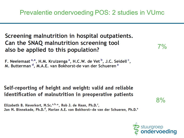 Prevalentie ondervoeding POS: 2 studies in VUmc