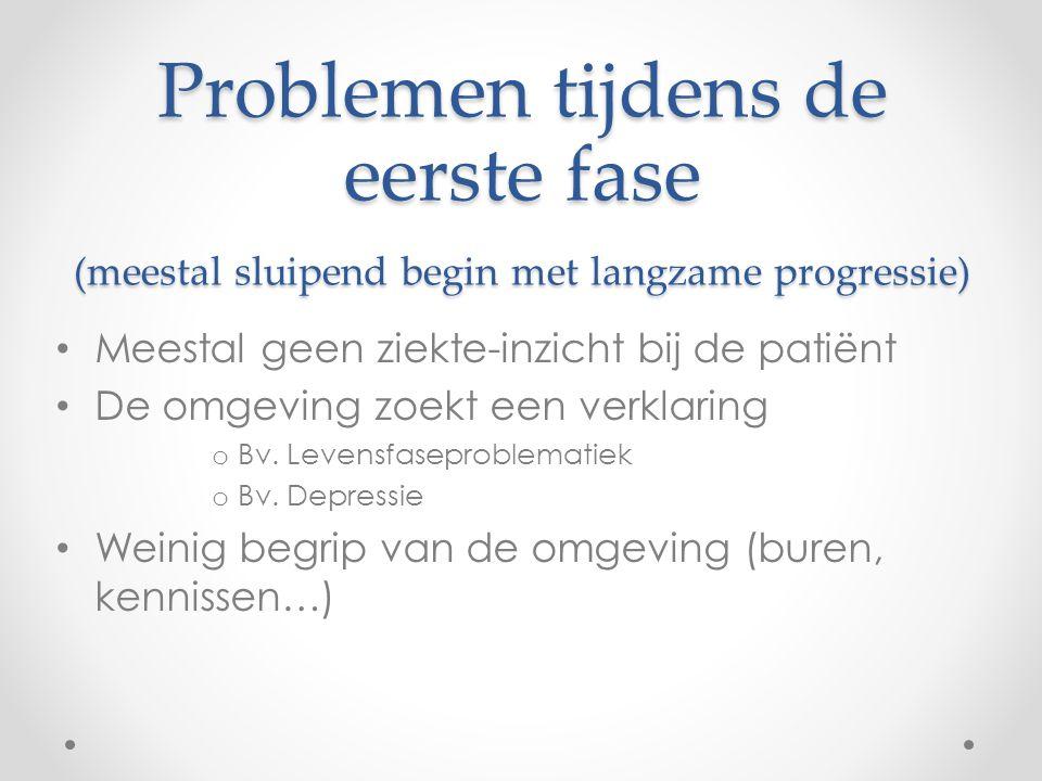 Problemen tijdens de eerste fase (meestal sluipend begin met langzame progressie)
