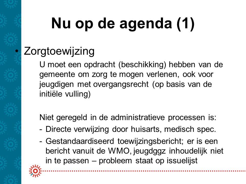 Nu op de agenda (1) Zorgtoewijzing