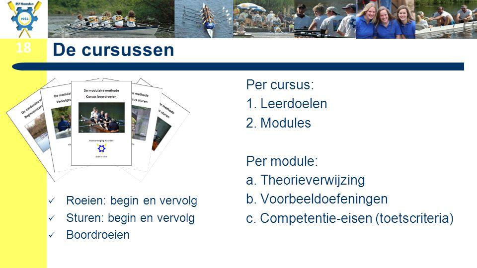 De cursussen Per cursus: 1. Leerdoelen 2. Modules Per module: a. Theorieverwijzing b. Voorbeeldoefeningen c. Competentie-eisen (toetscriteria)