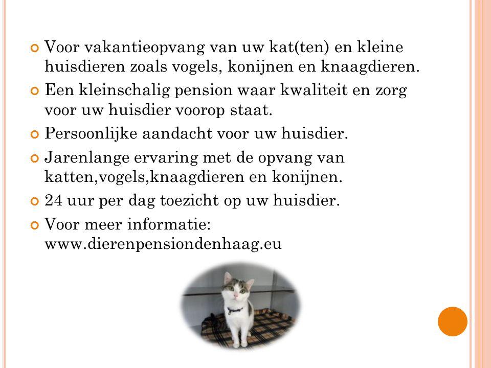 Voor vakantieopvang van uw kat(ten) en kleine huisdieren zoals vogels, konijnen en knaagdieren.