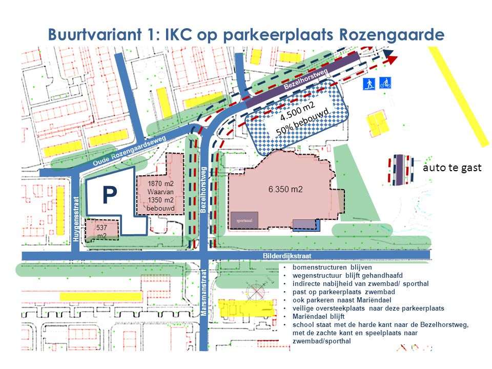 Buurtvariant 1: IKC op parkeerplaats Rozengaarde