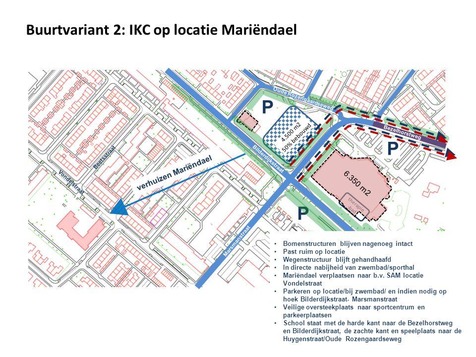 P P P Buurtvariant 2: IKC op locatie Mariëndael verhuizen Mariëndael