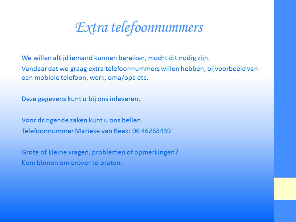 Extra telefoonnummers