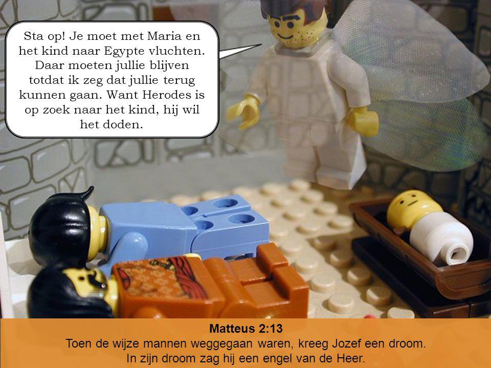 Toen de wijze mannen weggegaan waren, kreeg Jozef een droom.