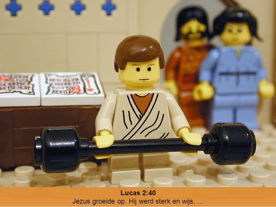 Jezus groeide op. Hij werd sterk en wijs, ...