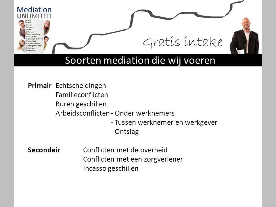 Soorten mediation die wij voeren