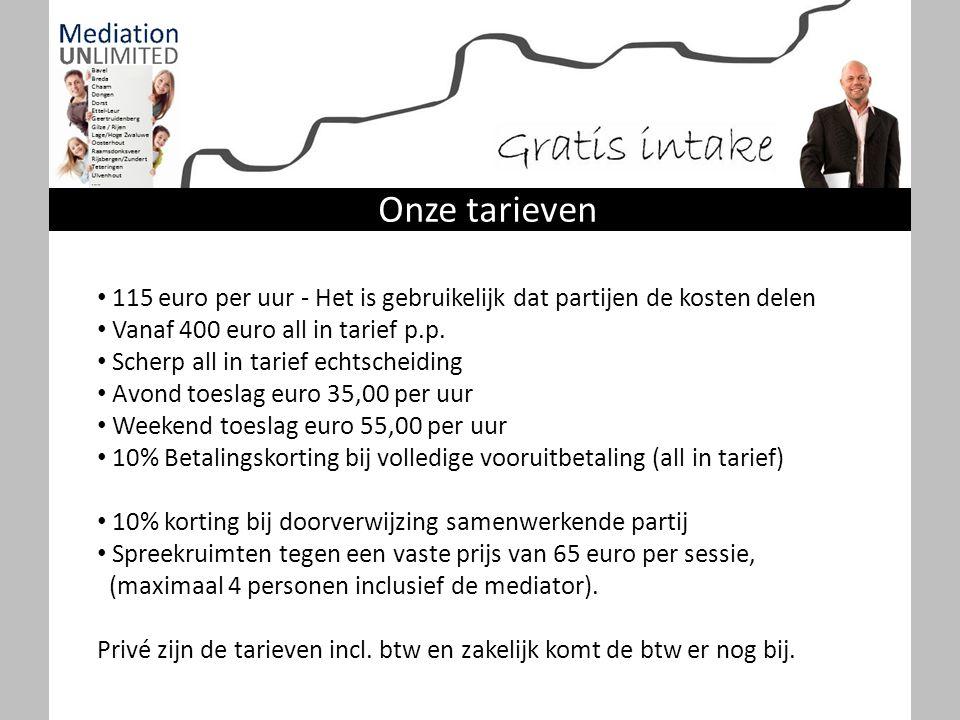 Onze tarieven 115 euro per uur - Het is gebruikelijk dat partijen de kosten delen. Vanaf 400 euro all in tarief p.p.