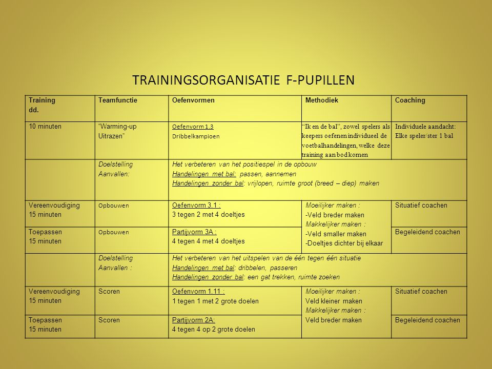TRAININGSORGANISATIE F-PUPILLEN