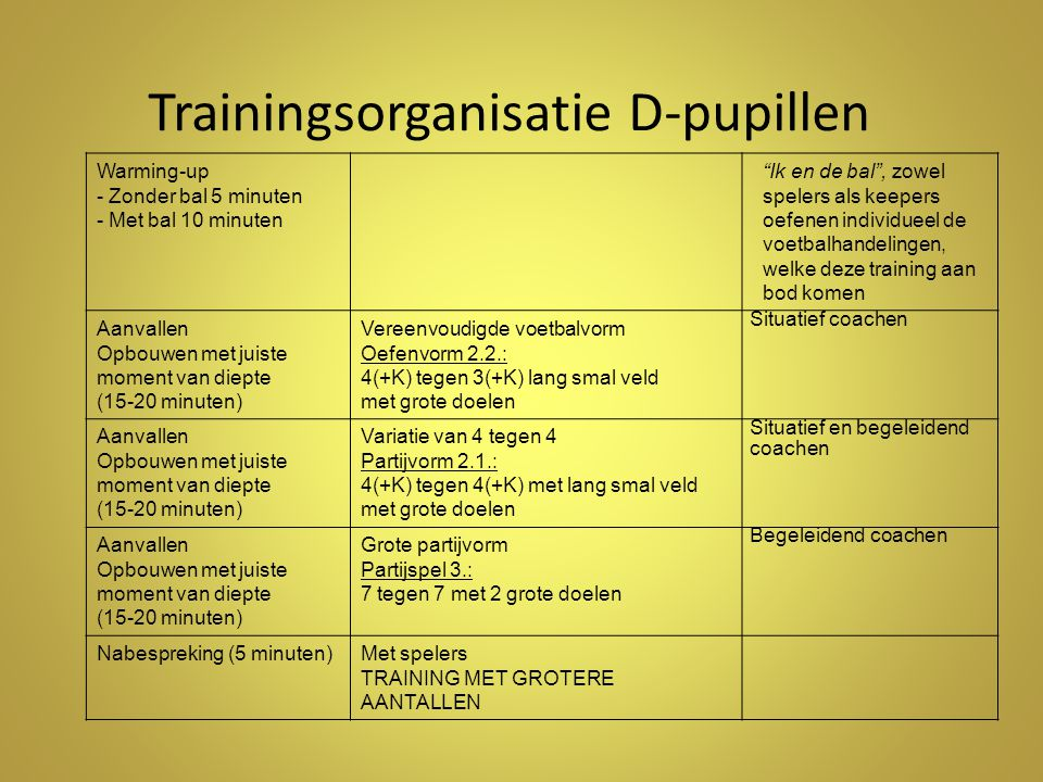 Trainingsorganisatie D-pupillen