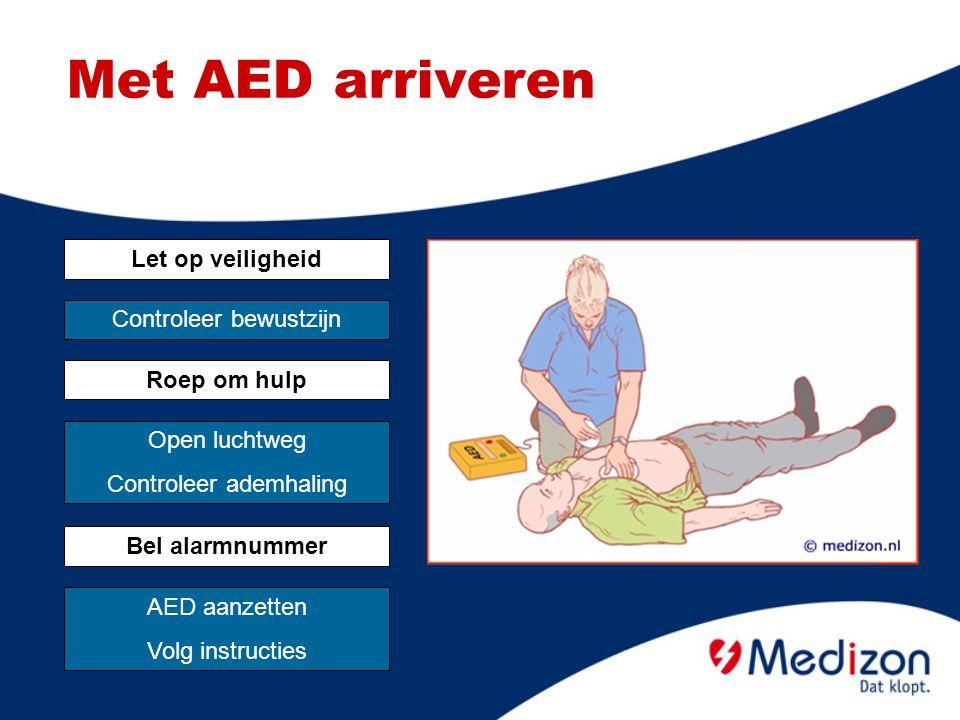 Met AED arriveren Let op veiligheid Controleer bewustzijn Roep om hulp