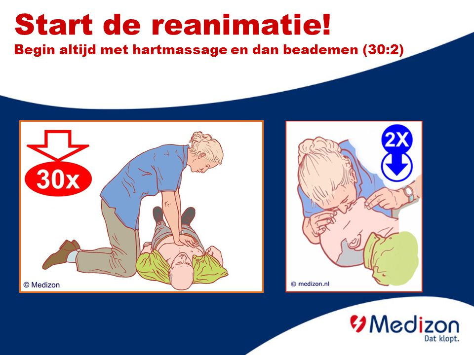 Start de reanimatie! Begin altijd met hartmassage en dan beademen (30:2)