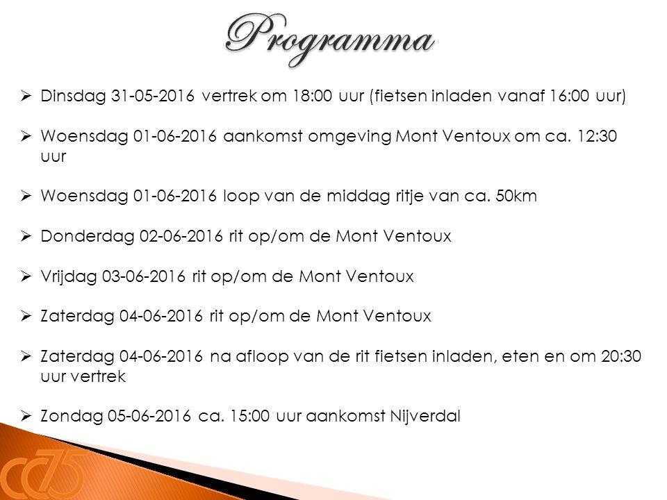 Programma Dinsdag 31-05-2016 vertrek om 18:00 uur (fietsen inladen vanaf 16:00 uur)