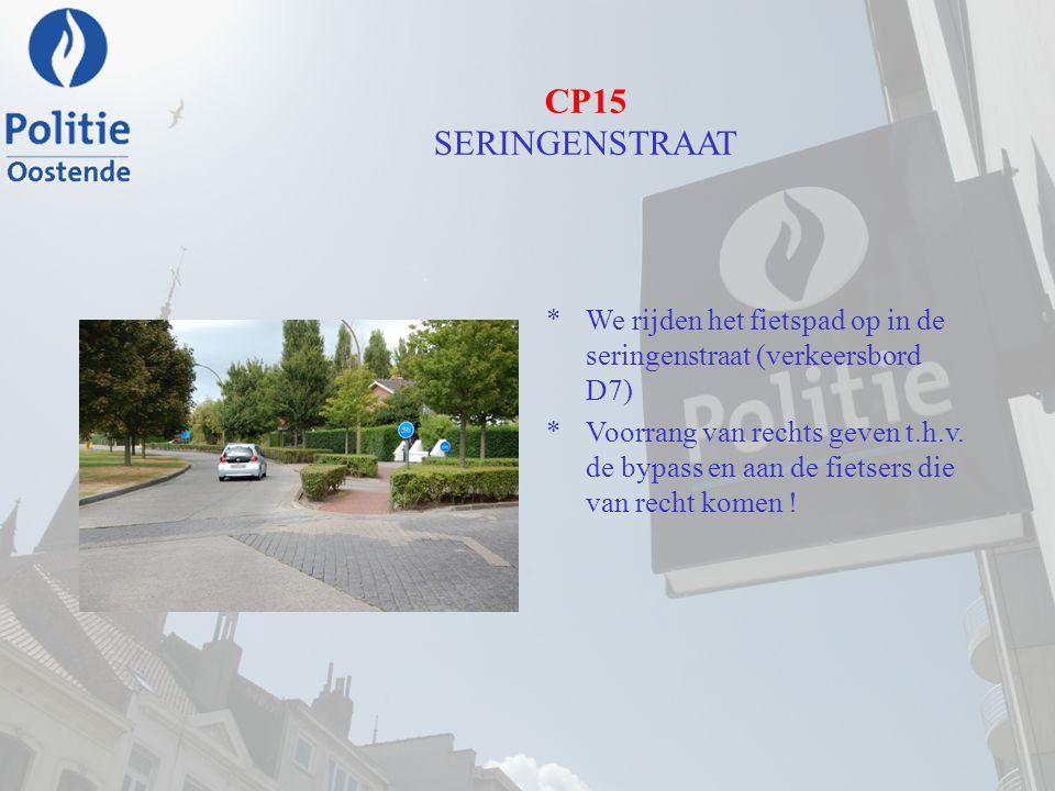 CP15 SERINGENSTRAAT We rijden het fietspad op in de seringenstraat (verkeersbord D7)