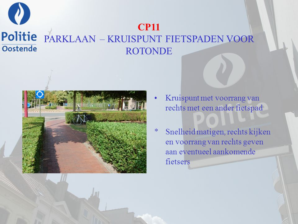 CP11 PARKLAAN – KRUISPUNT FIETSPADEN VOOR ROTONDE